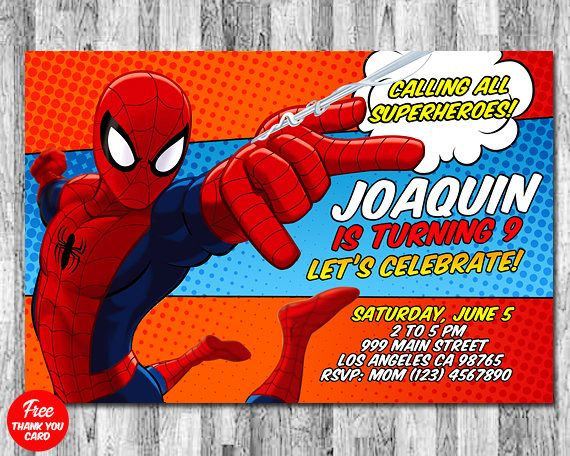 I Will Help You Create Your Spiderman Invitation With Own Party Info Can Print Or Have Them Printed And Shipped To