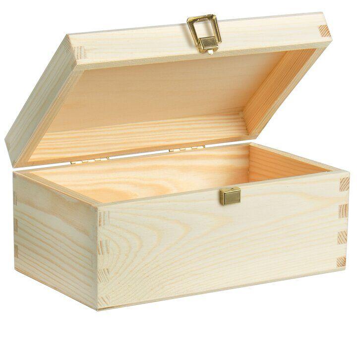 Holzkiste klein mit Deckel & Schloss - Holzbox Natur - ca. 20x15x10cm