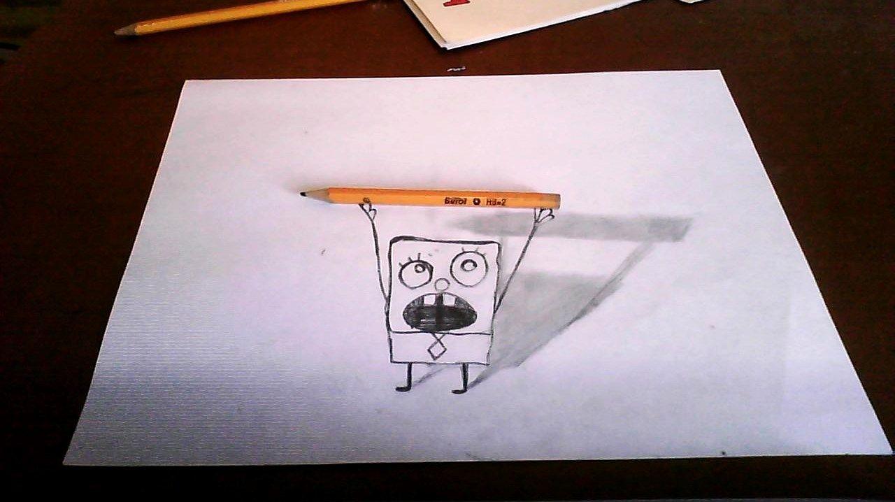 Bob Esponja Dibujo 3d Jpg 1280 718 Dibujos 3d A Lapiz Dibujos 3d Dibujos