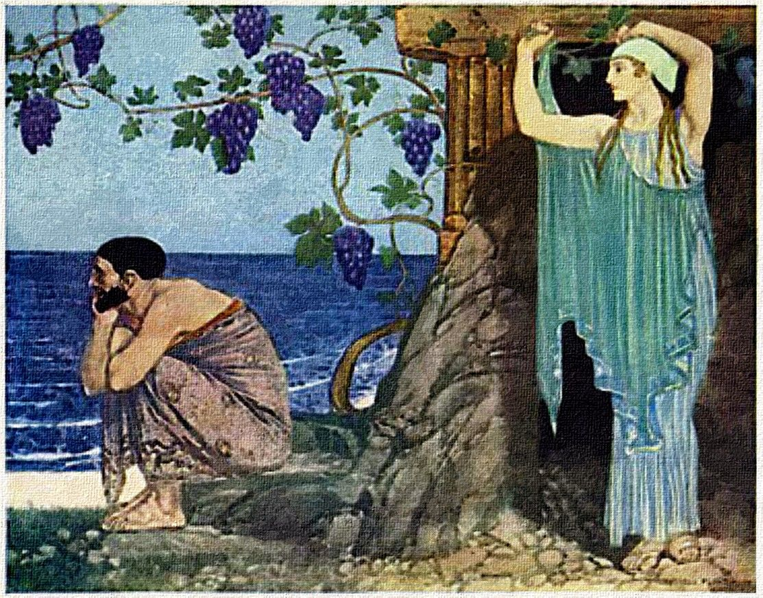 odyssues travel to the island of circe Odysseus and his crew remain with her on the island for one year, while they feast and drink finally, odysseus' men convince him to leave for ithaca guided by circe's instructions, odysseus and his crew cross the ocean and reach a harbor at the western edge of the world, where odysseus sacrifices to the dead and summons the spirit of the old prophet tiresias for advice.