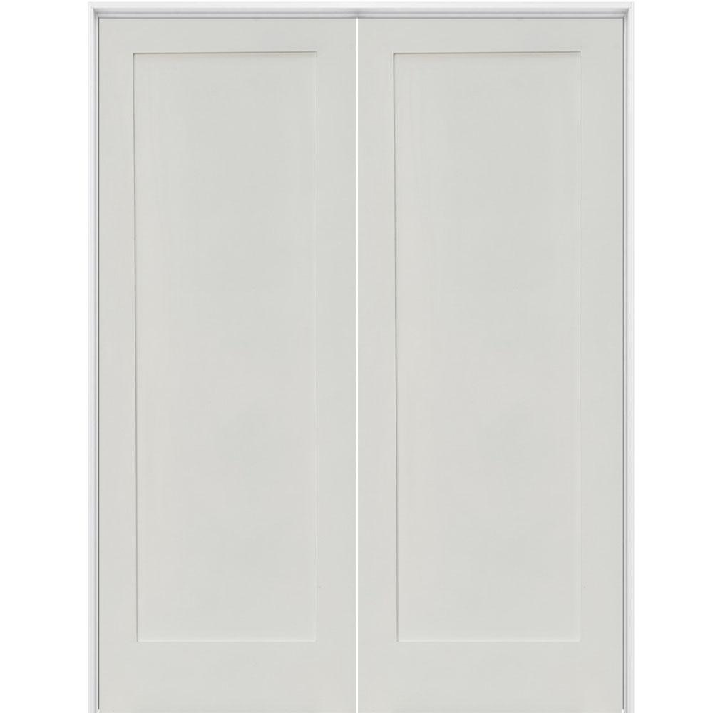 Krosswood Doors 72 In X 80 In Craftsman Shaker 1 Panel Both Active Mdf Solid Hybrid Core Double Prehung Interior French Door Phid Sh 111 60 68 138 Aa The Ho In 2020 Prehung Interior French Doors French