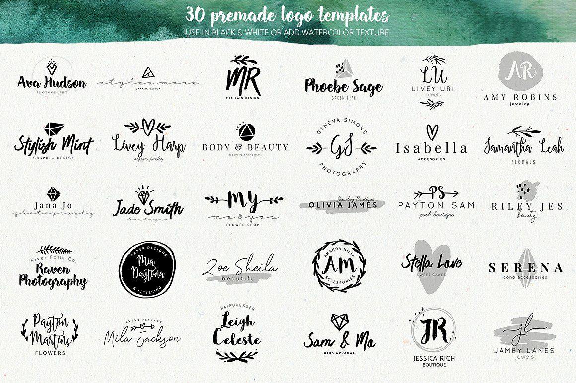 Premade Watercolor Logo Creator Kit Combining Elements Easy