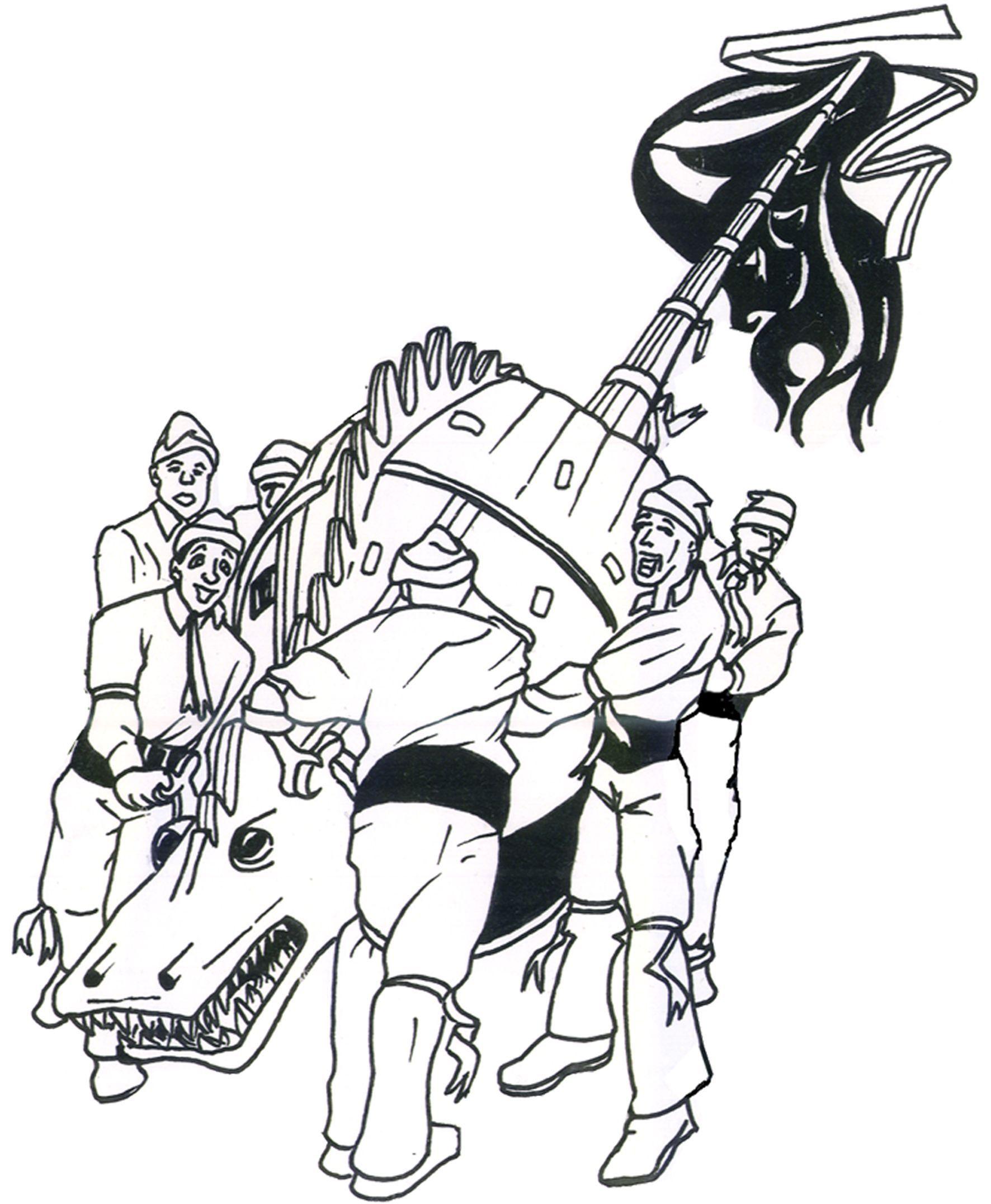 Dessin Dragon Et Hommes Blancs Ducasse De Mons Belgie