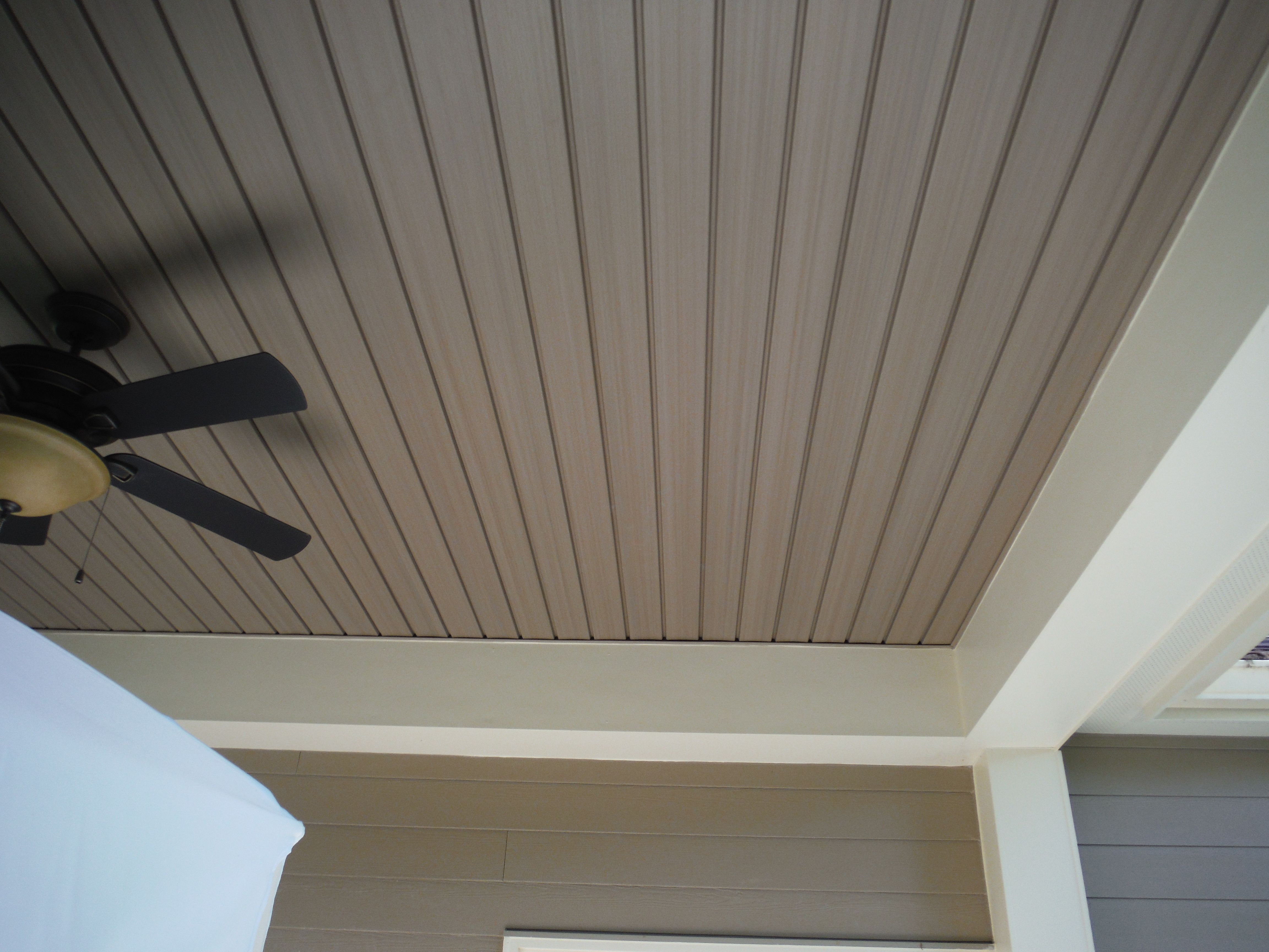 Close Up Of The Custom Vinyl Porch Ceiling Khaki Brown Diy