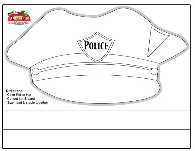 Printable police hat ei teaching emergency services for Police badge template for preschool