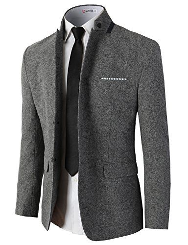 Mens Basic Single Breasted Stand Collar Sport Business Blazer Jackets