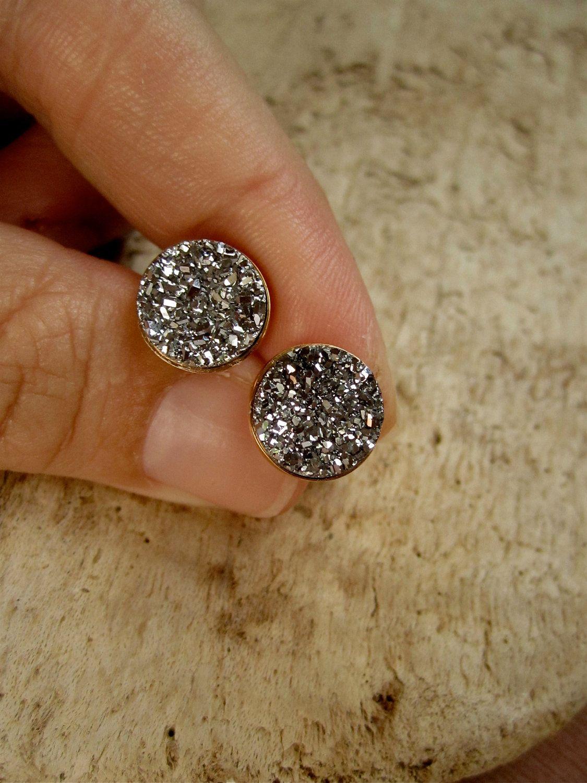 Beaded Jewelry Black Druzy Stud Earrings Sterling Silver 8mm Stone Quartz Titanium Druzy
