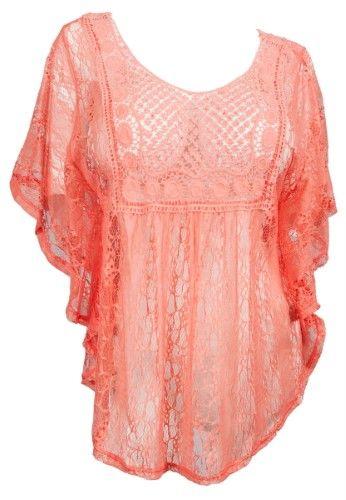 022bc5789 eVogues Plus Size Sheer Crochet Lace Poncho Top Coral - 1X, Women's, Orange