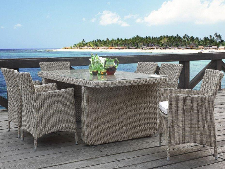 Table 6 fauteuils jardin kuopio r sine tress e beige - Chaise jardin resine tressee ...
