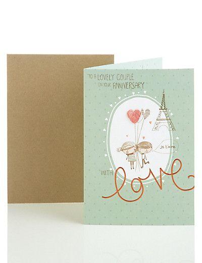 Eiffel Tower Cute Couple Anniversary Card M S Couples Anniversary Cards Anniversary Cards