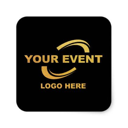 Your event logo stickers square black business logo cyo personalize customize diy special