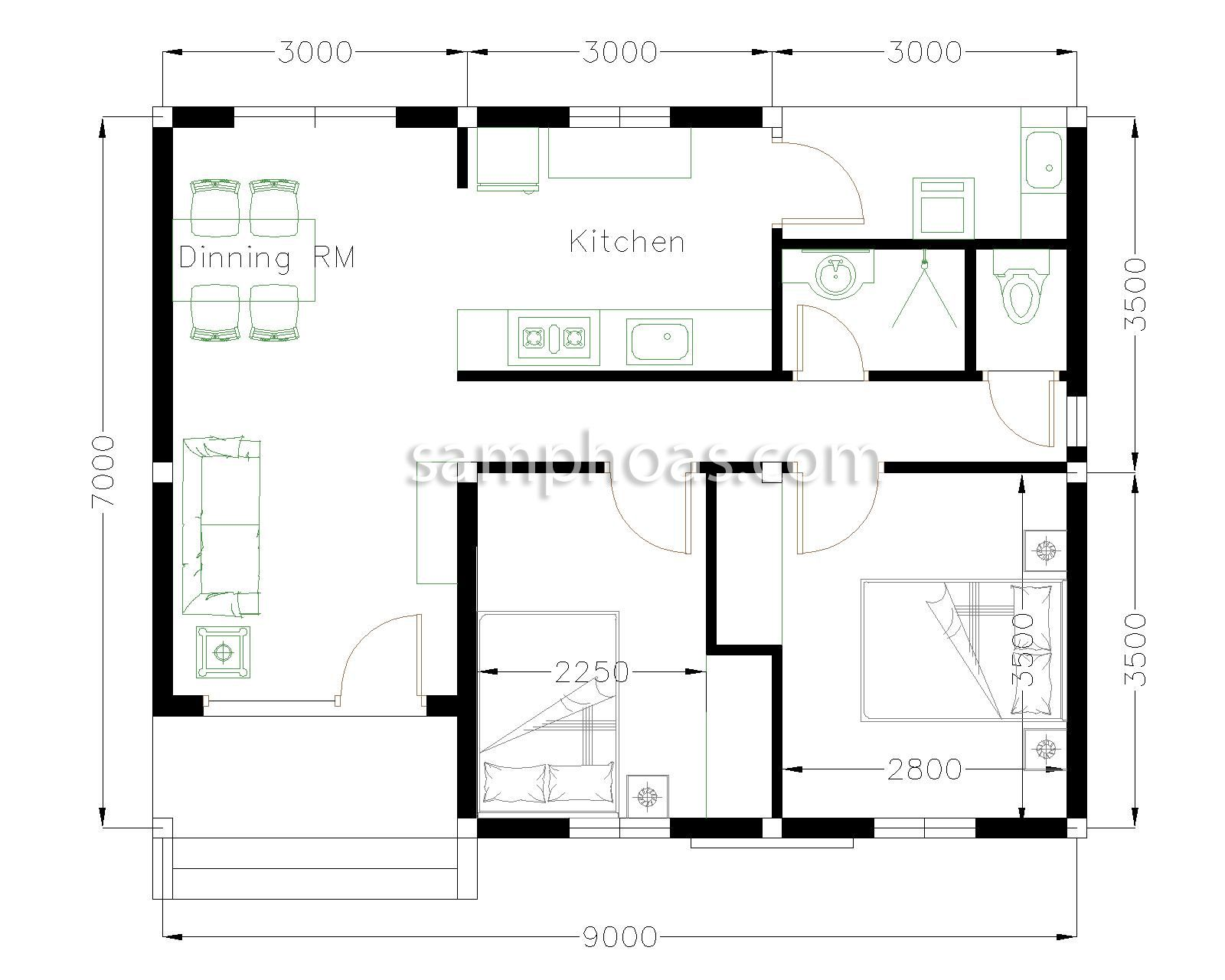 House Plans 9x7m With 2 Bedrooms House Plans Free Downloads Bedroom House Plans Simple House Plans House Layout Plans