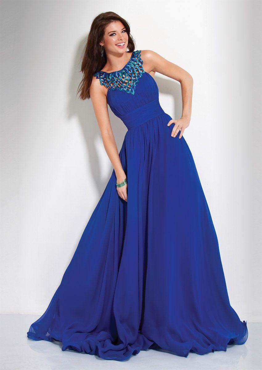 Shop 2014 Elegant Prom Dresses A Line Floor Length Dark Royal Blue ...