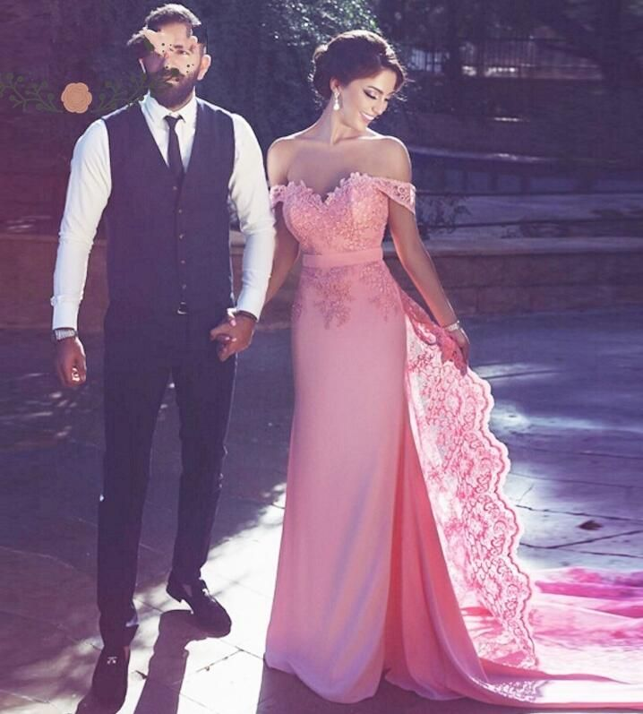 Mermaid Prom Dresses, Pink Off The Shoulder Prom Dress, Sweetheart ...