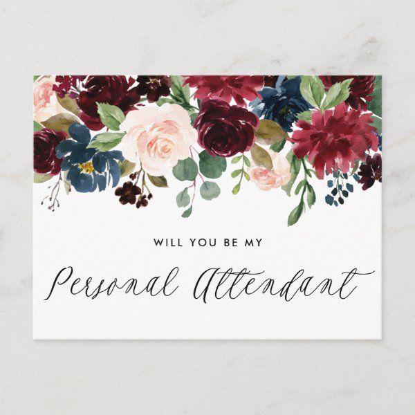 Photo of Cartolina di invito per assistente personale ghirlanda floreale blu e bordeaux | Zazzle.com