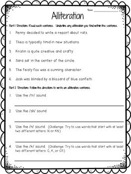 Alliteration Worksheet FREEBIE | Poems | Pinterest | Alliteration ...