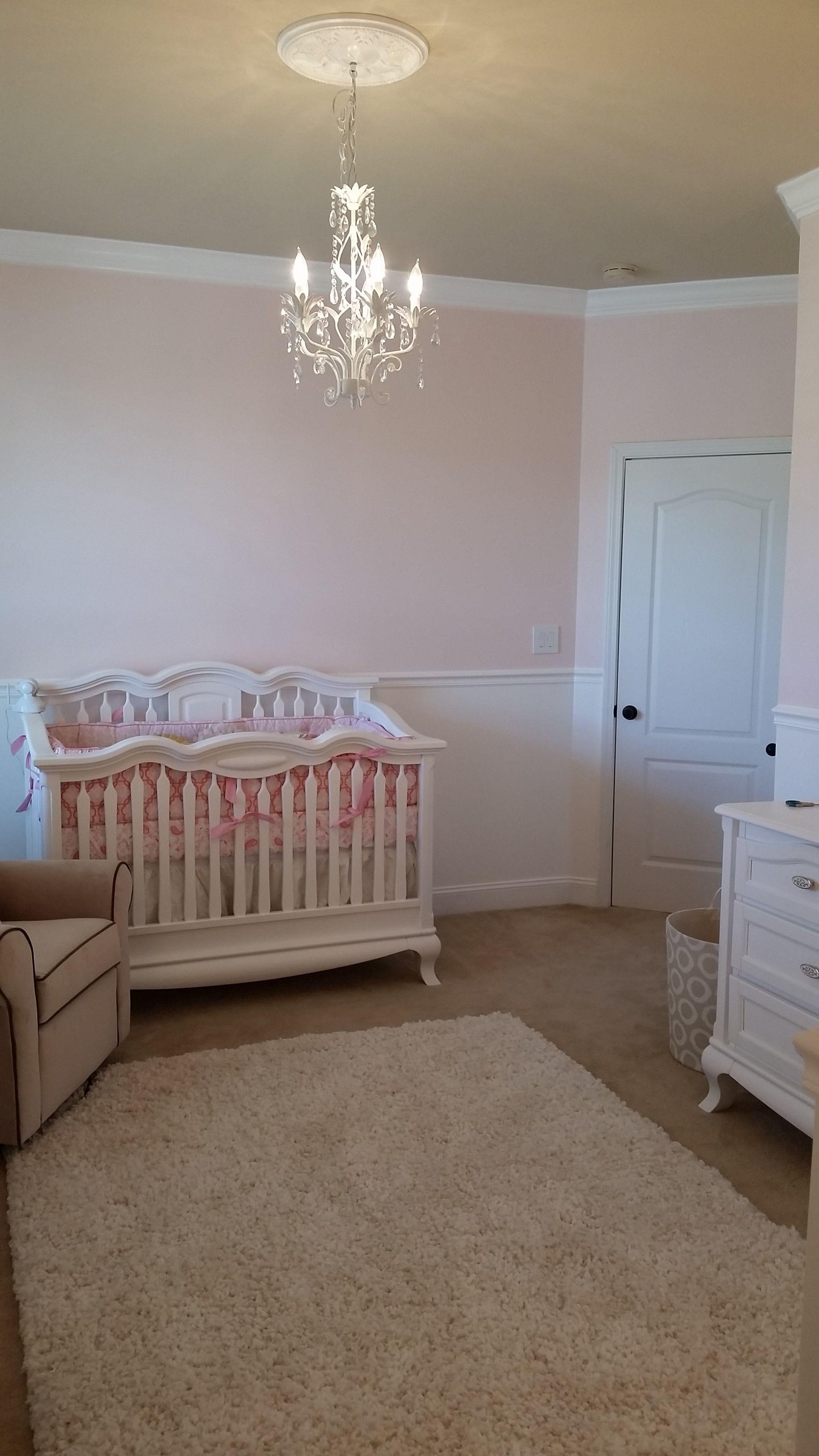 Finished Chandelier and Crib Baby girl nursery nurseries DIY