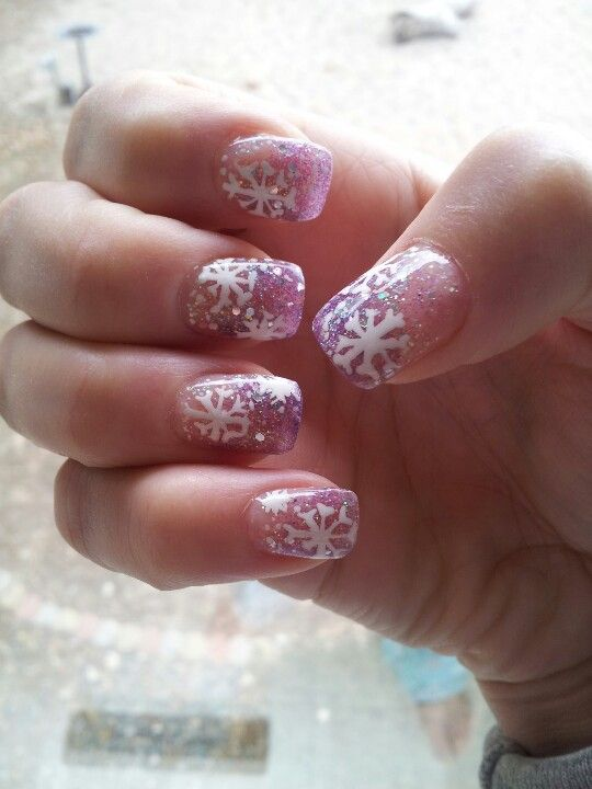 Acrylic nails, winter design