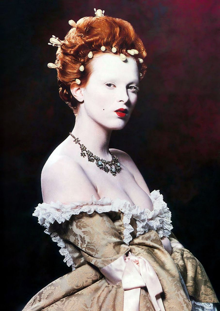 Karen Elson as Elizabeth I Face Forward by Kevyn Aucoin