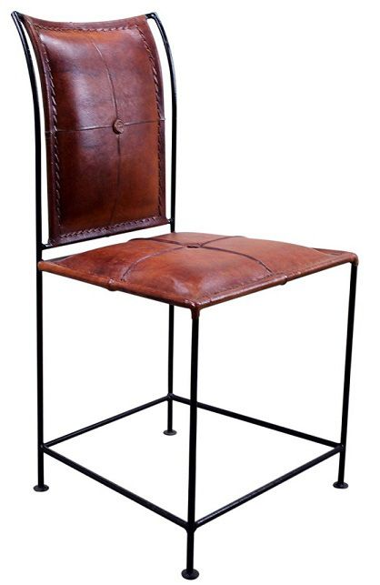 Iron And Leather Chair Rustic Dining Furniture Contemporary Dining Furniture Furniture Design Chair
