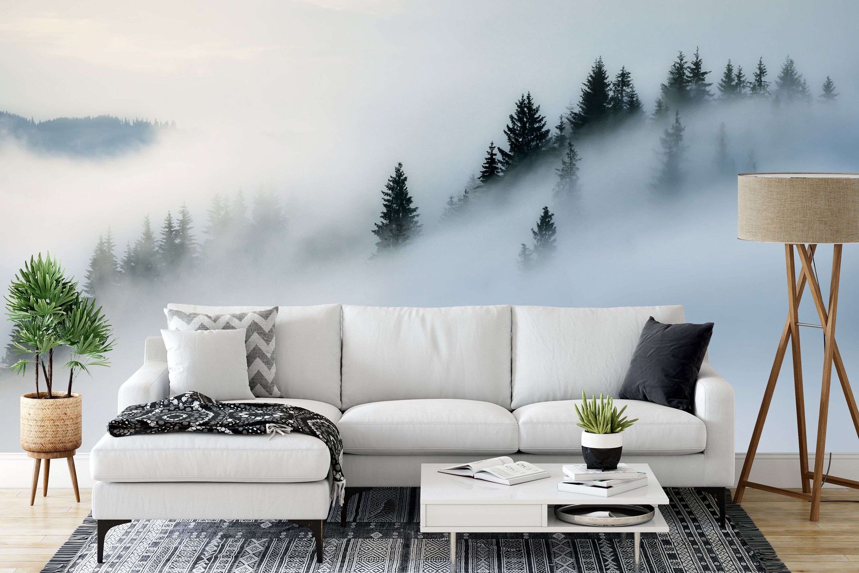 Mystical Forest Mountain Wall Mural, Misty Forest