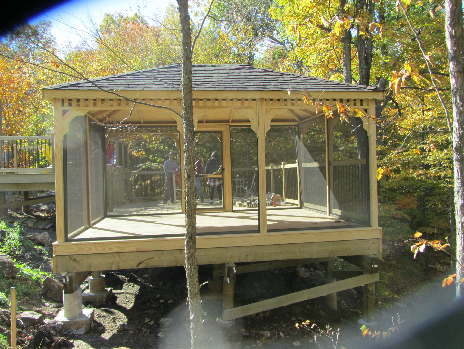 Backyard Wooden Gazebo Designs 379 Screened Gazebo