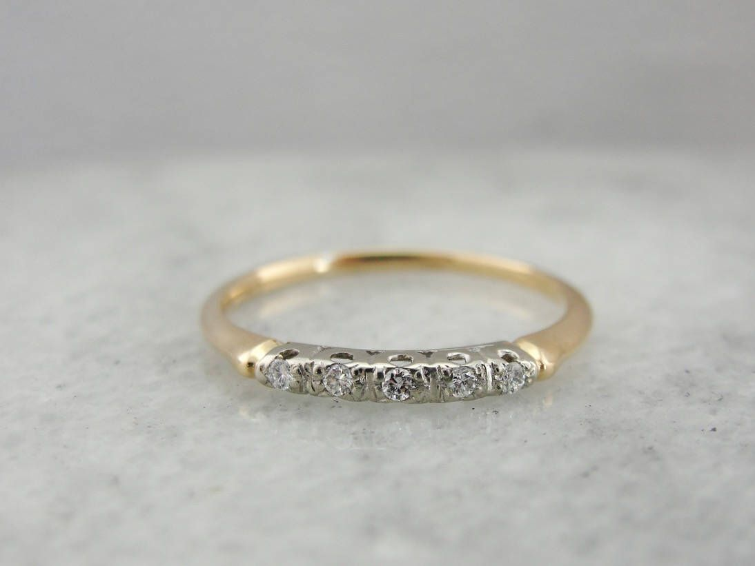 bands diamond vine band gold vintage filigree milgrain dainty pin ring rose