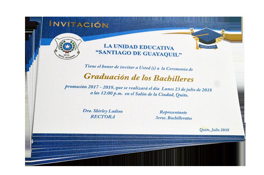 Tarjeta De Invitación Grado Unidad Educativa Santiago De