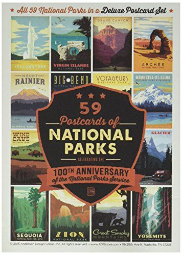 59-piece Deluxe National Parks Postcard Set Anderson Desi ...