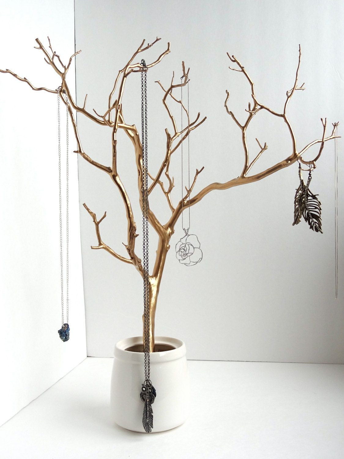 jewelry holder tree gold organizer painted necklace hanger bedroom decor for her via. Black Bedroom Furniture Sets. Home Design Ideas