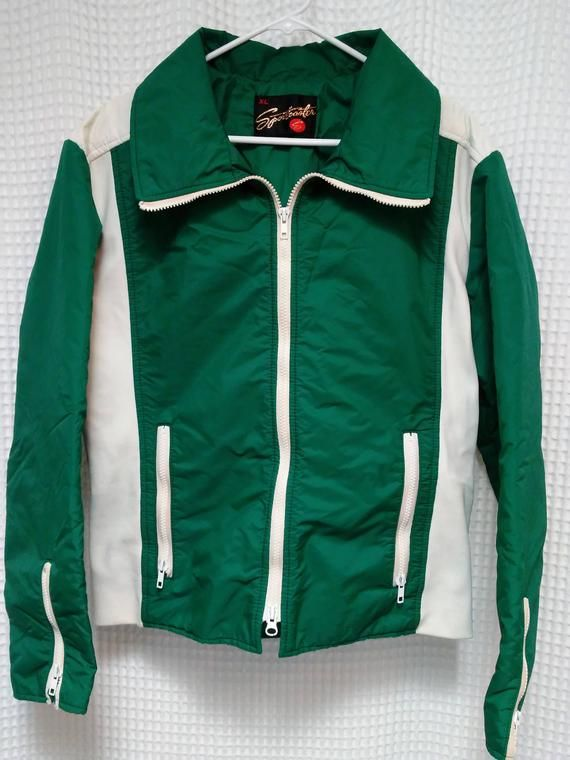 5d24655dd 60's Ski Jacket vintage Sportscaster 1960's mountain coat Ladies XL Mens  Med Green and White bomber