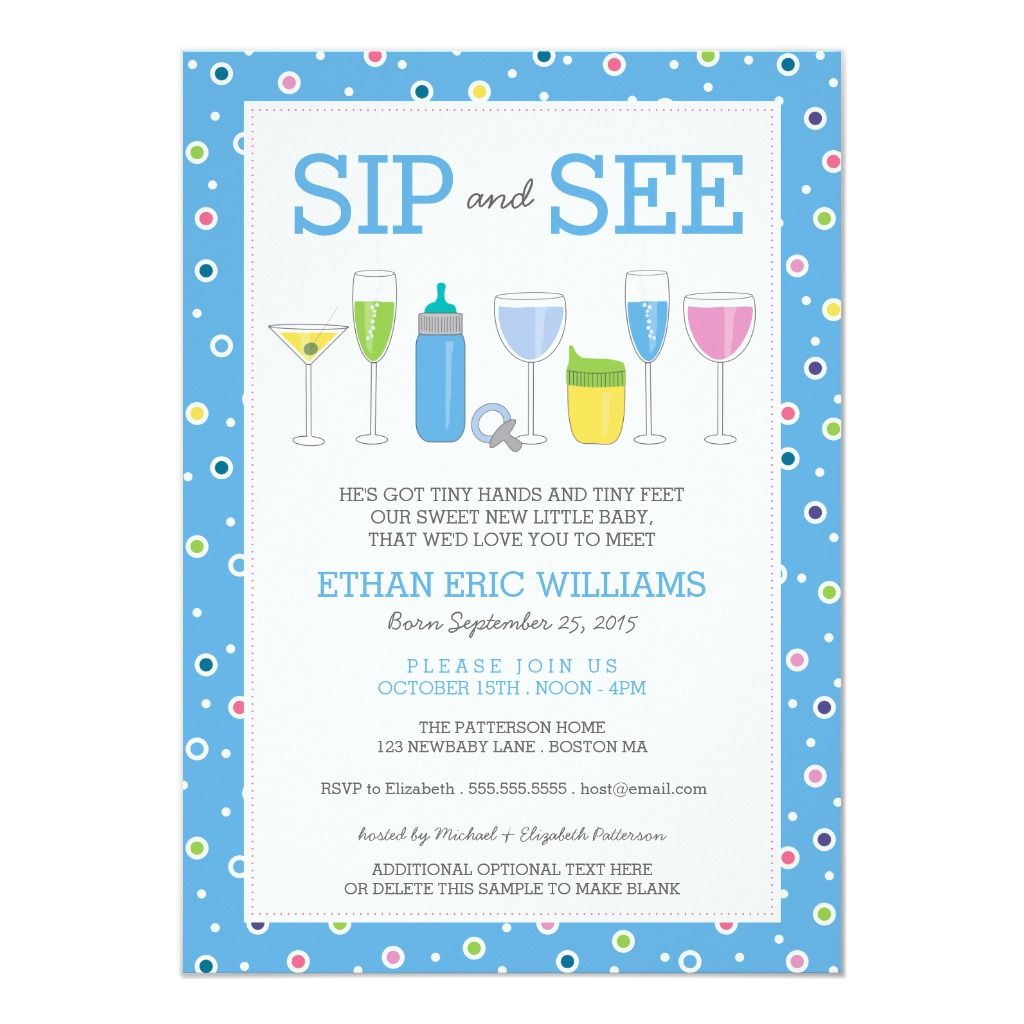 Blue Cocktail New Baby Boy Sip and See Invitation | Zazzle.com | Sip and  see invitations, Baby boy sip and see, Sip and see