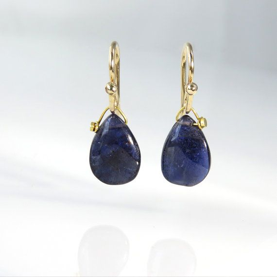 Iolite Briolette Drop Earrings - 7/8""