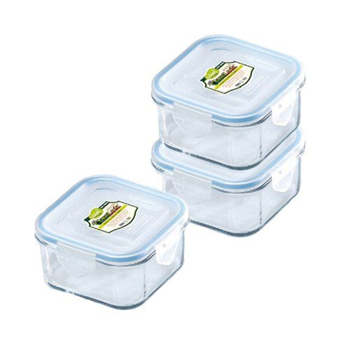 Glass Food Storage Containers With Locking Lids Kinetic Go Green Glasslock 1332 17Ounce Square Glass Foodstorage