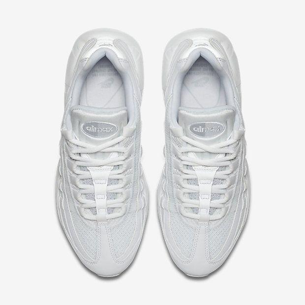 best service e20e6 68c1f Chaussure Nike Air Max 95 Pas Cher Femme Og Blanc Platine Pur Blanc