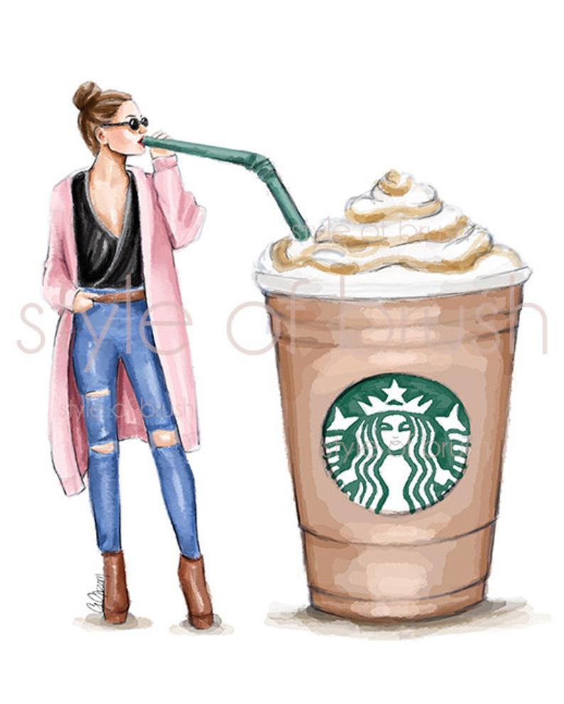Coffee Lover Starbucks Coffee Fashion Illustration
