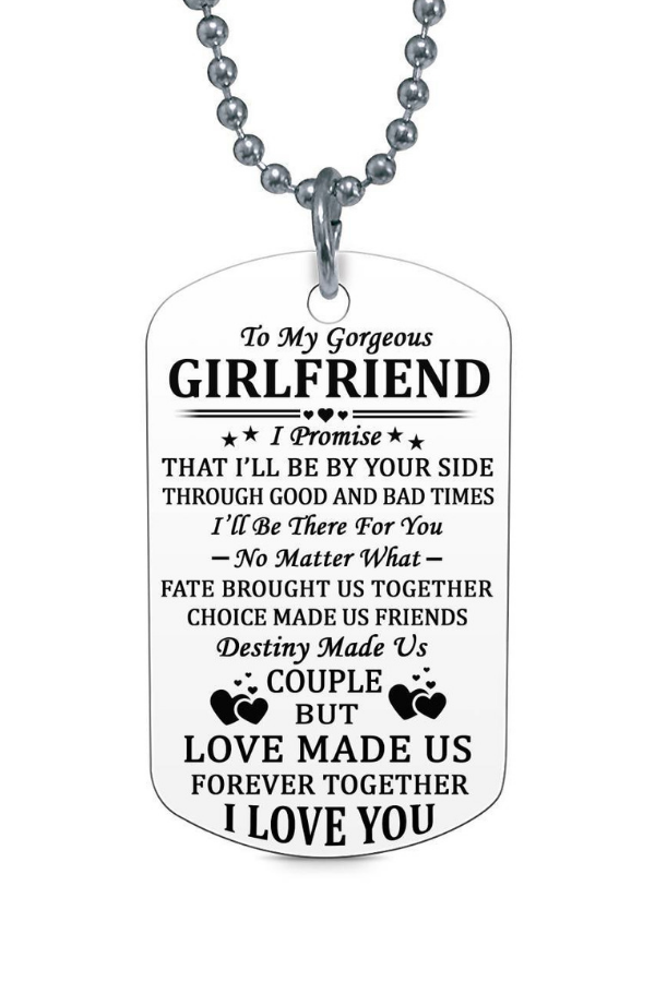 To My Gorgeous Girlfriend I Love You Dog Tag Necklace Birthday