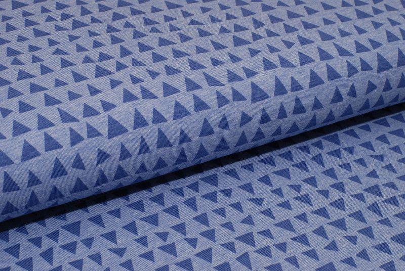 stoff grafische muster jersey dreiecke auf blau lila ein designerst ck von natalinkastoffe. Black Bedroom Furniture Sets. Home Design Ideas