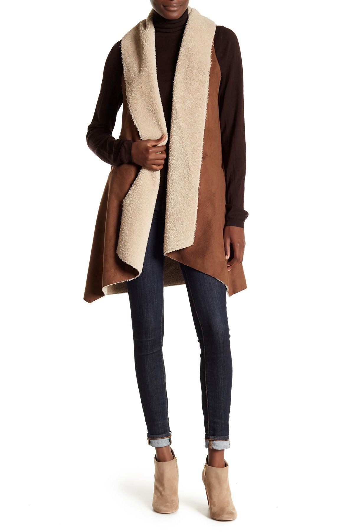 This faux shearling & suede vest creates countless outfit possibilities!