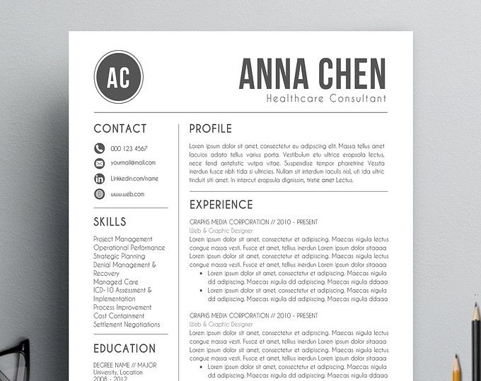 Resume Template CV Template + Cover Letter for MS Word - mac pages resume templates