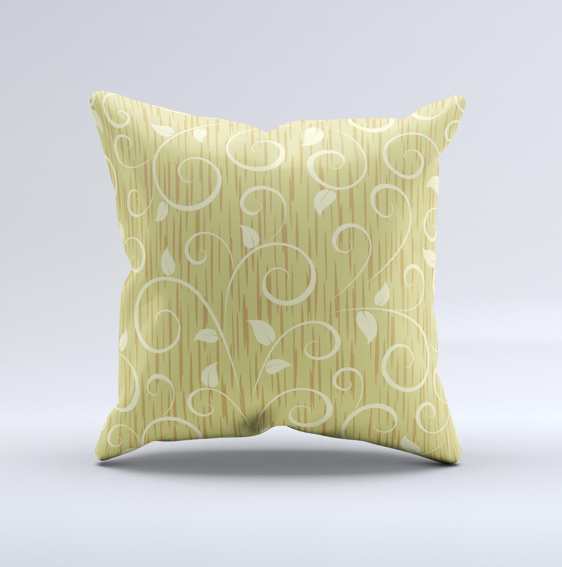 Light green curley vines inkfuzed decorative throw pillow pillows