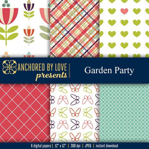 Garden Party Digital Paper Graphics 6 high quality digital papers 300 dpi 12″x12�20(3600x3600px) JPEG files by Anchored By Love