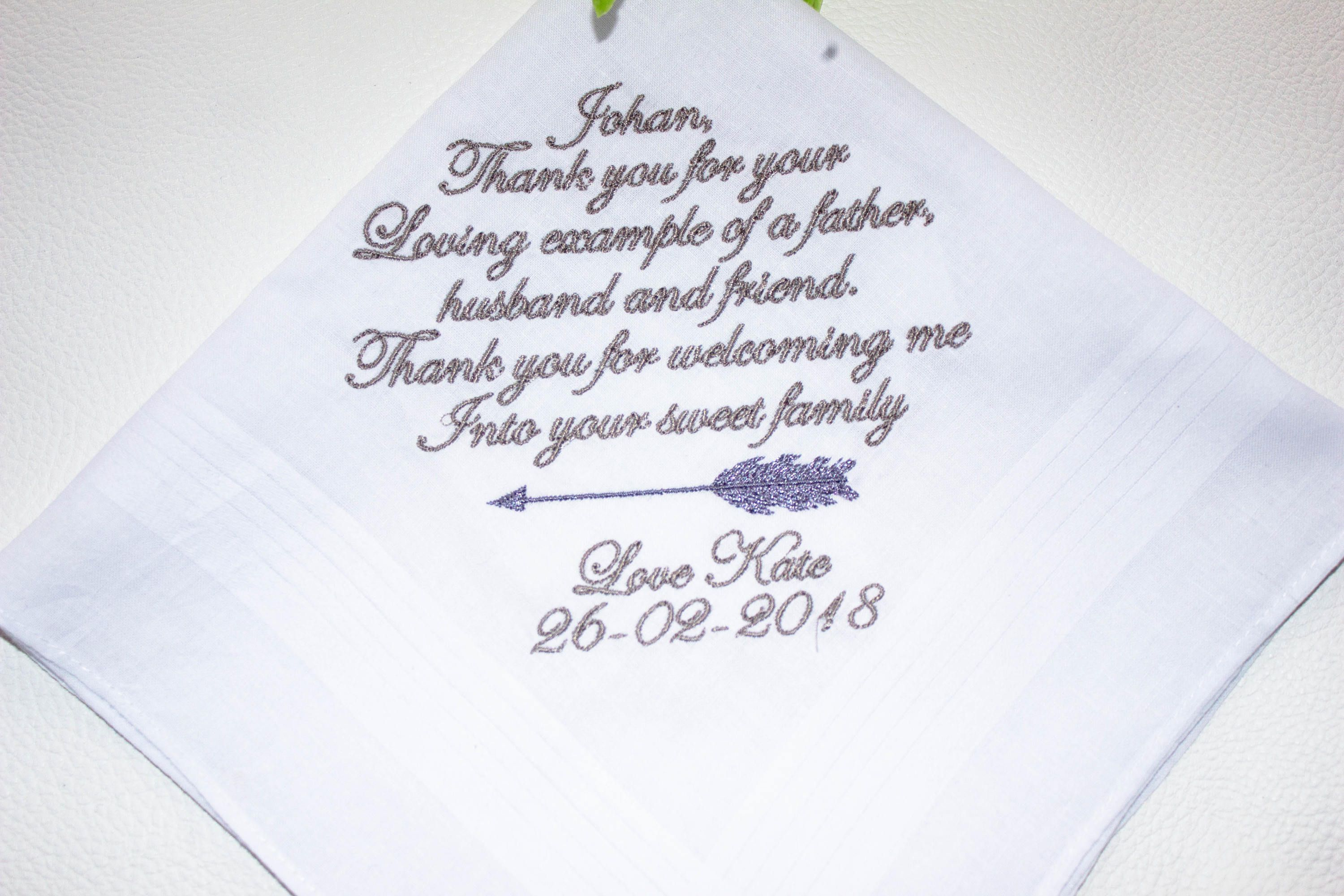 Personalised Boxed Father of the Bride Handkerchief, Wedding Gift ...