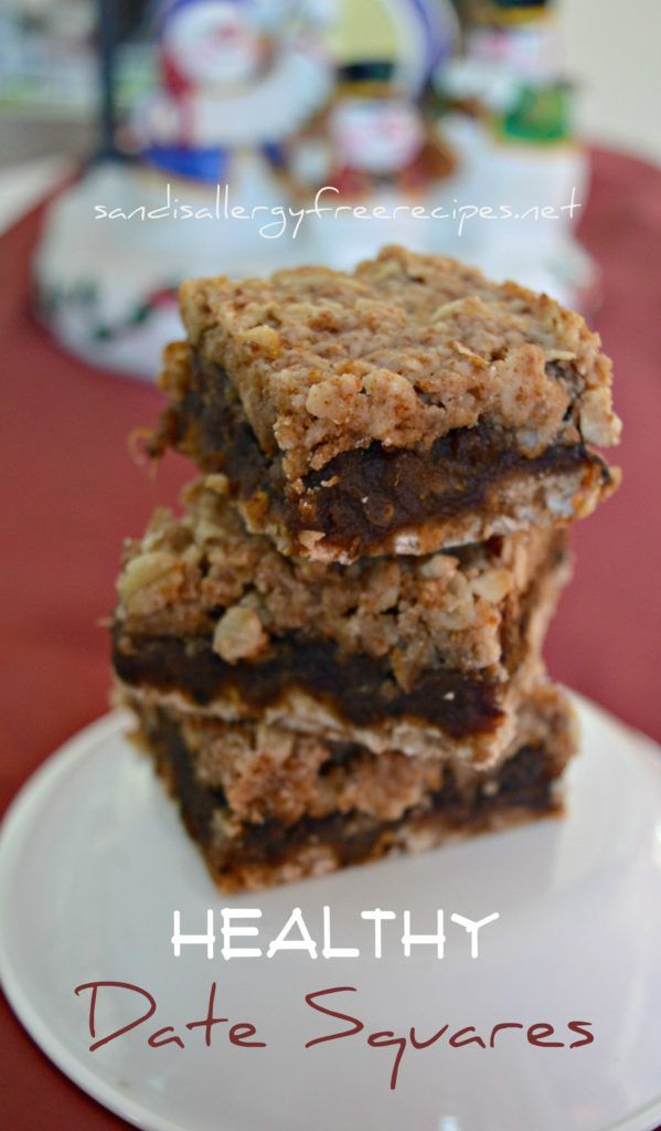 Healthy Date Squares (Gluten Free/ Dairy Free/ Vegan/ Refined Sugar Free/ Nut Free) - SANDI'S ALLERGY FREE RECIPES
