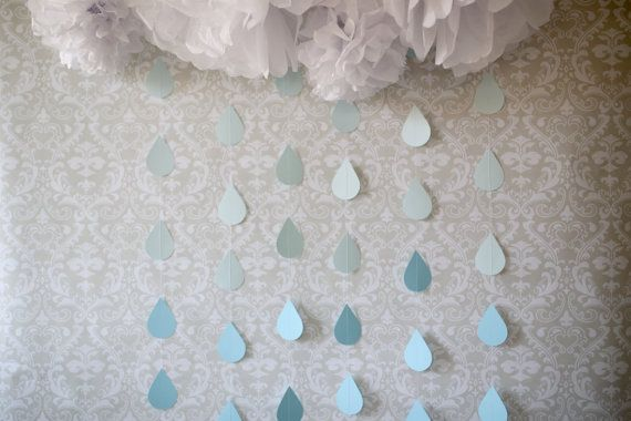 Baby shower Sprinkle banner Blue raindrop garland Baby shower garland Baby sprinkle garland Boy baby shower Baby shower banner