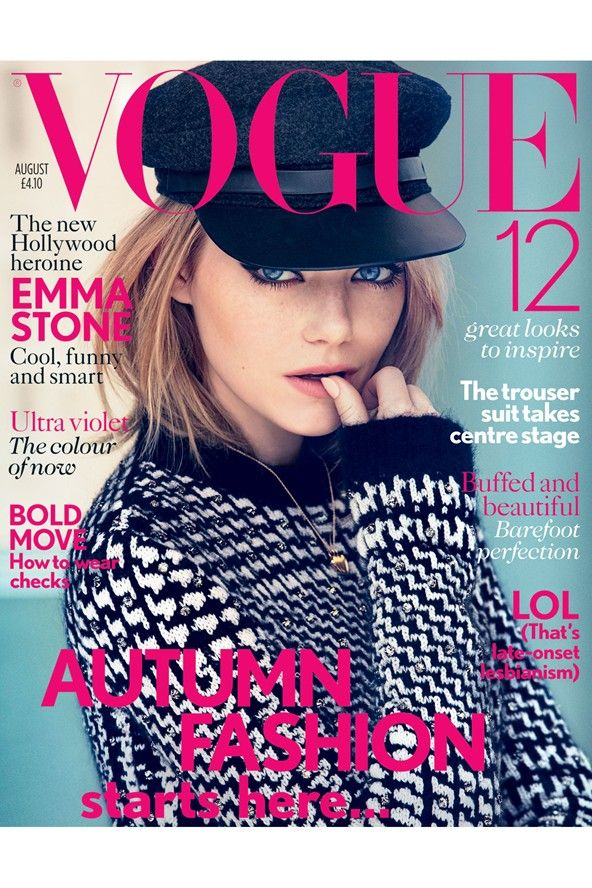 See the style evolution of one of Hollywood's favourite fashion stars - Emma Stone made her British Vogue cover debut on the August 2012 issue, wearing a #MaxMara cap and jumper.