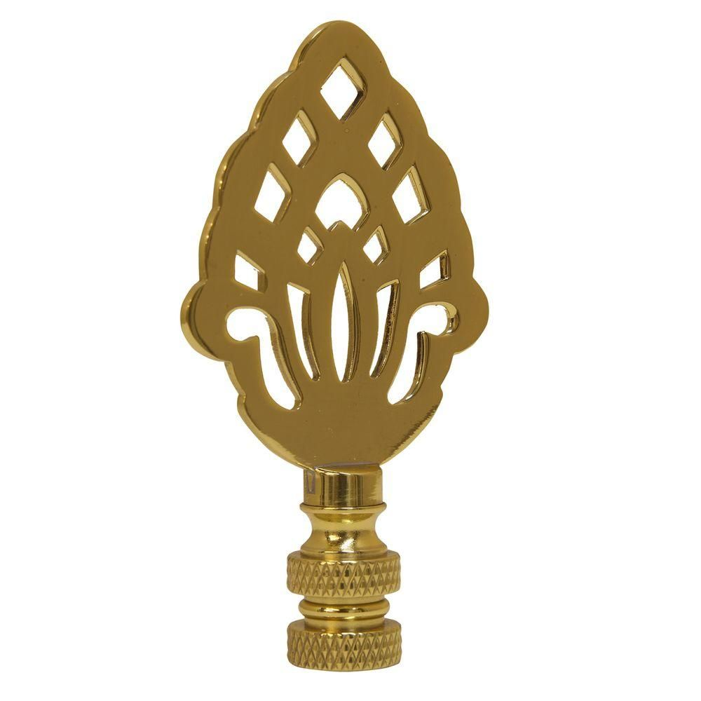 Mario Industries Acorn Silhouette Lamp Finial Gold Blue Glass Lamp Brass Lamp Outdoor Light Fixtures