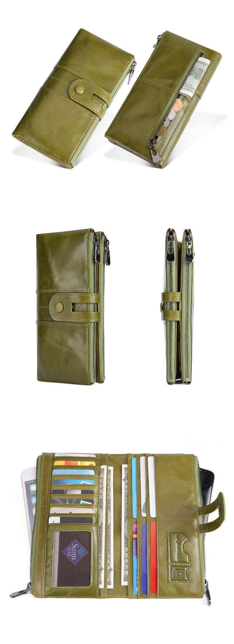 Handmade top grain leather wallet long card holder wallet