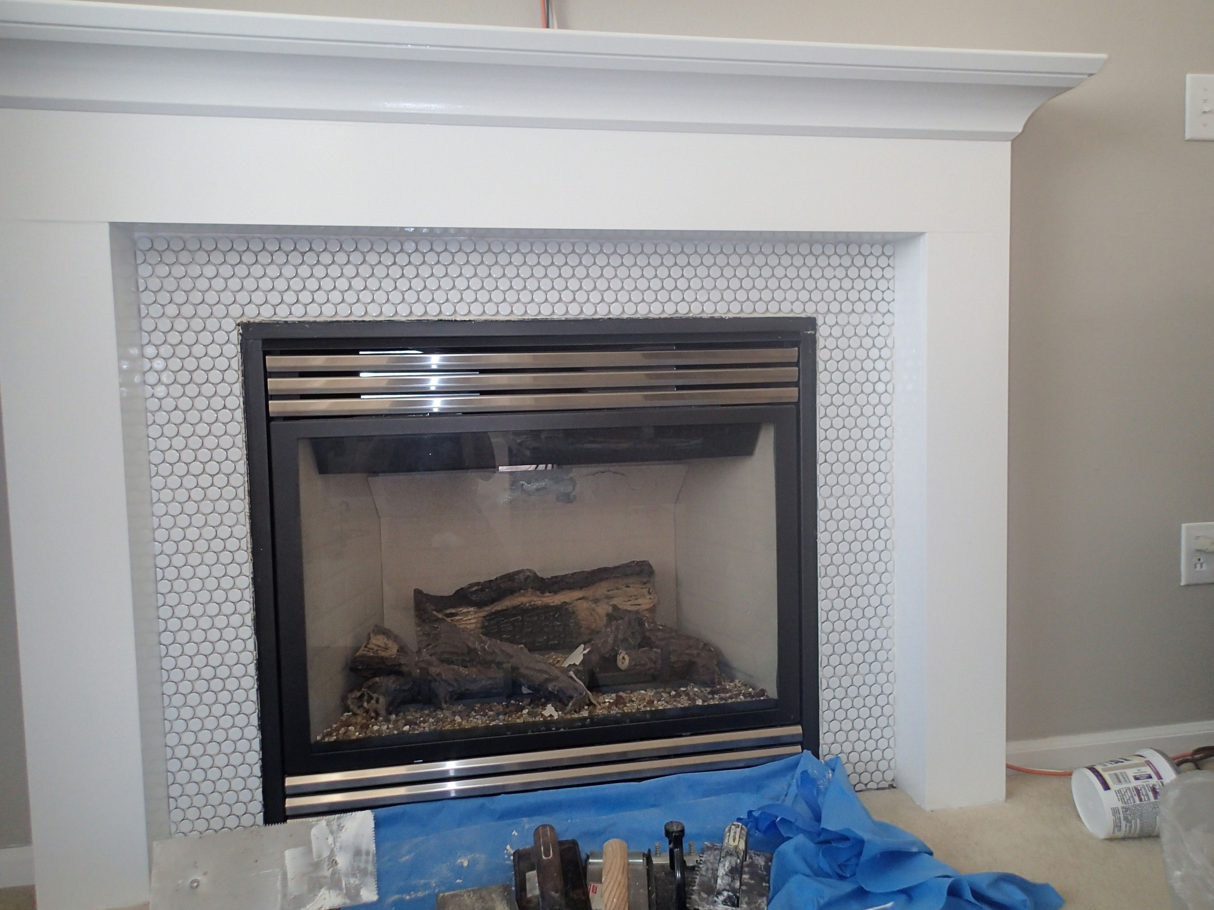 Penny Tile Fireplace Surround Fireplace Surrounds Tile