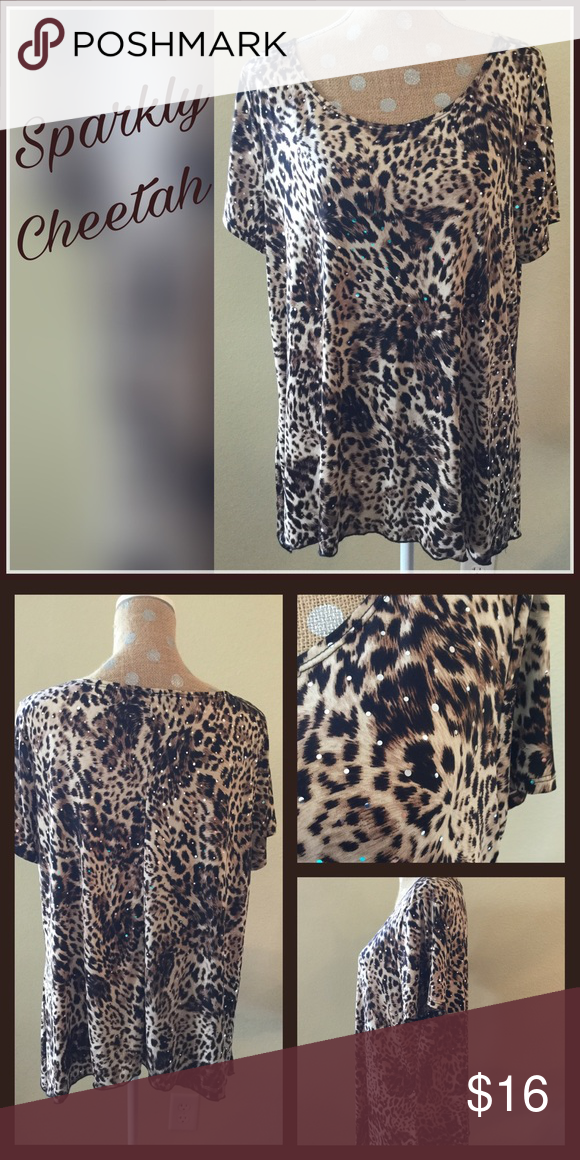 """Top Super soft sparkly cheetah print top perfect with jeans, black or brown pants or shorts. Has just enough stretch for comfort. In excellent used condition. Chest measures 44"""". Brittany Black Tops"""